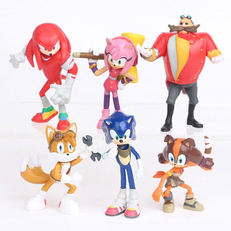 6 unids/set Anime figura de acción juguete de Pvc Sonic 1-4 colas de sombra personajes figura juguetes para niños animales juguetes Set niños Juguetes