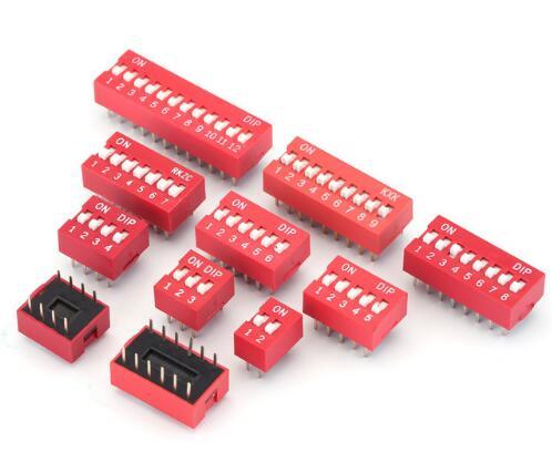 10 шт./лот DIP переключатель Скользящий тип красный 2,54 мм шаг 2 ряда DIP тумблеры 1p 2p 3p 4p 5p 6p 7p 8p 9p 10p 12p