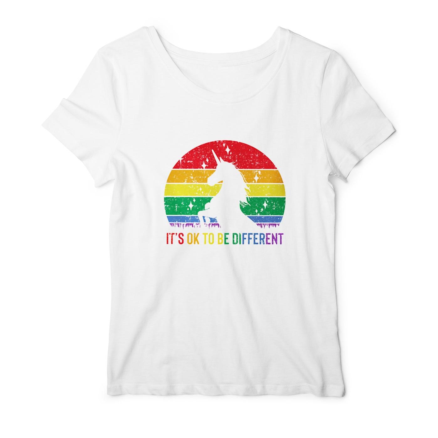 TO jest OK, aby być różne T Shirt miłość podaje ją do kolegów kobiet biseksualnych lesbijek gejów miłość TO miłość kobiet lesbijek Rainbow Top tshirt