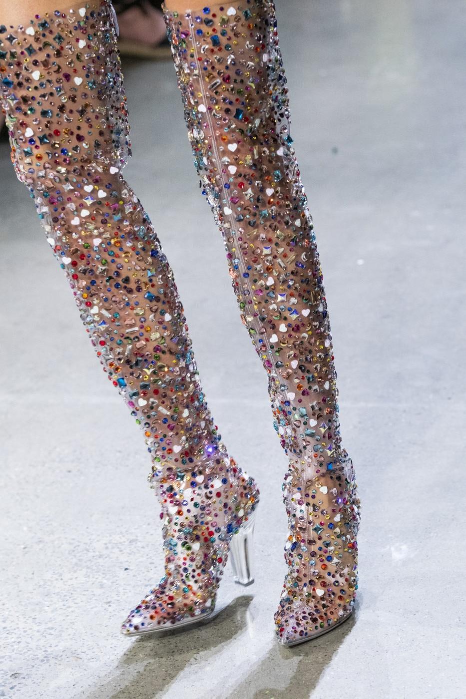 Sapatos de Salto Pvc sobre o Joelho Sestito Novo Feminino Bling Multi Cristal Transparente Praça Alto Vestido Pista Senhora Apontou Toe Botas 2021