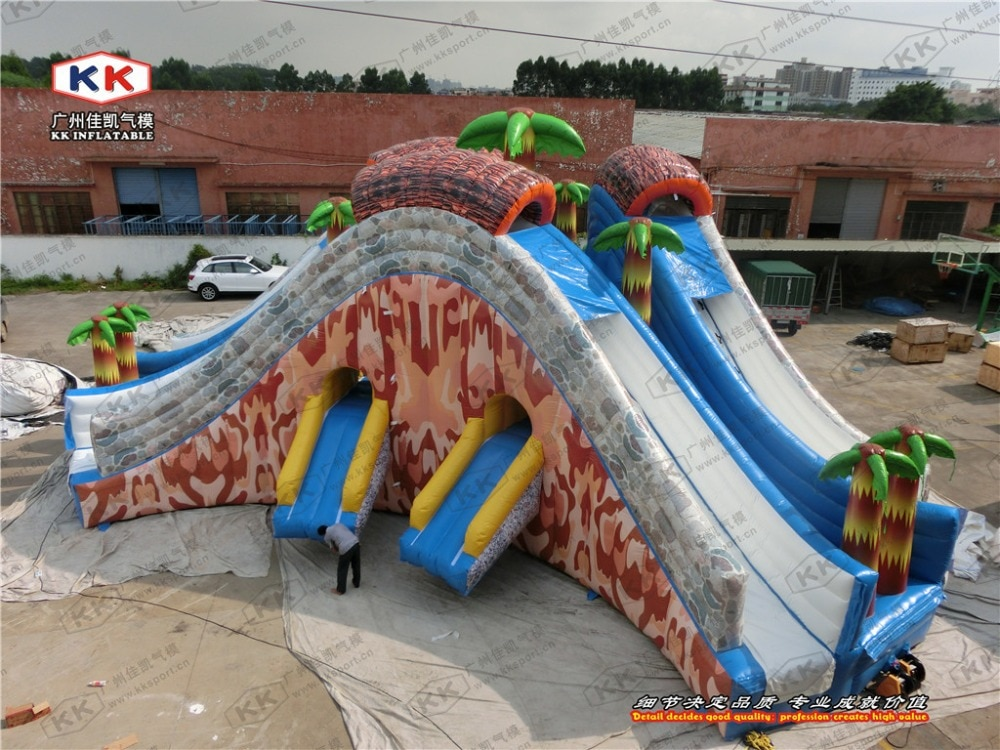 Tobogán triple inflable de aventura, tobogán húmedo doble para niños