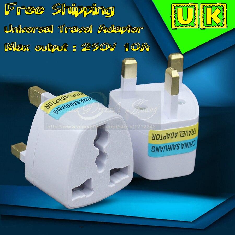 110 V-250 V 10A adaptador de viaje Universal internacional Euro EU AU US a UK enchufe adaptador de corriente alterna convertidor de enchufe de pared para Reino Unido