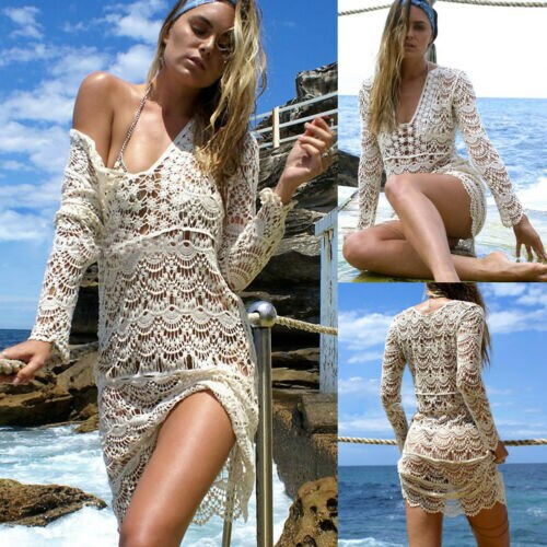 Summer Women Ladies Knit Crochet Bikini Cover Up Mesh Fishnet Swimsuit Swimwear Bathing Suit Beach Long Dress Female Beachwear