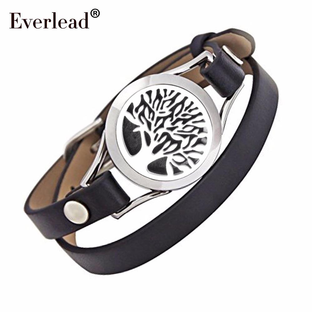 Everlead Love Tree of life Bracelets Real Leather Essential Oil Diffuser Locket Bracelets for Women Aromatherapy Bracelet&bangle