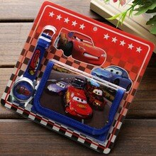 New Children Cartoon Wallet Watch Set Lovely car story Watches Girl or Boy Birthday Gifts Quartz Lea