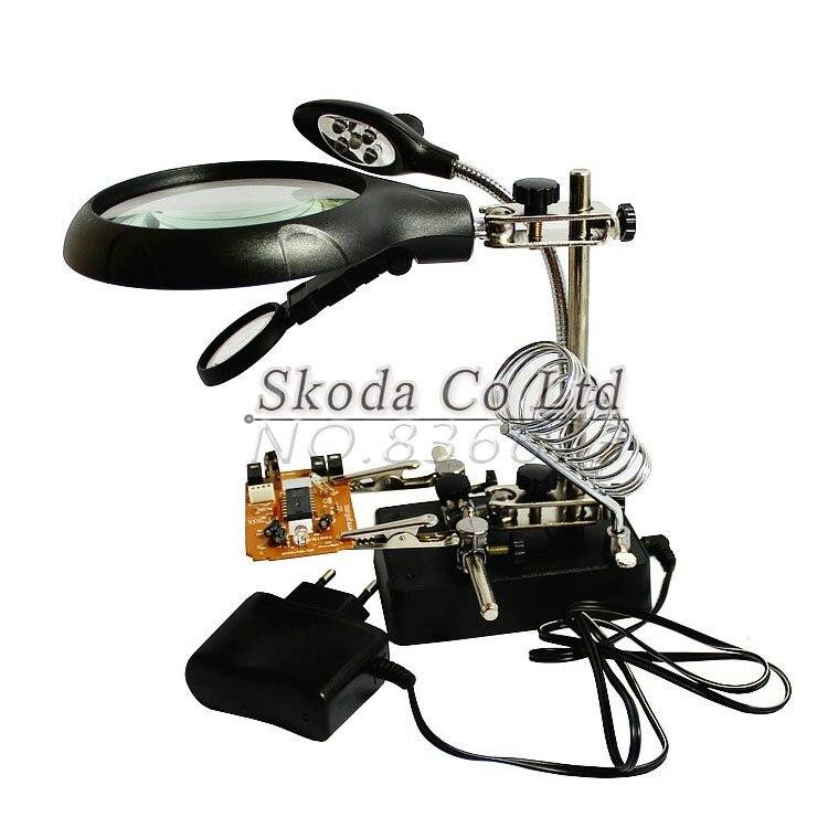 ¡Envío gratis! lupa multifuncional herramienta eléctrica de soldadura de hierro + 5 luces LED escritorio BGA banco de trabajo reparación de la placa base accesorio