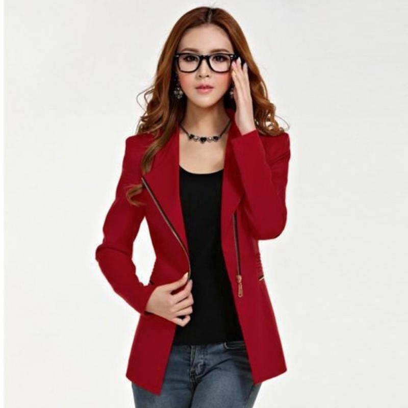 Chaqueta de mujer a la moda de manga larga, chaqueta de oficina con cremallera para mujer, chaqueta ajustada con solapa, Tops, abrigo, prendas de vestir formales de poliéster