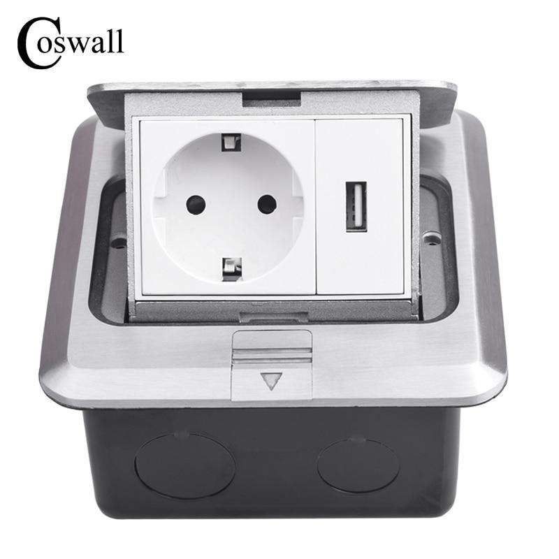 Coswall-مقبس أرضي من الألومنيوم ، لوحة منبثقة ، منفذ شحن USB 5 فولت 1 أمبير ، معيار الاتحاد الأوروبي ، روسيا ، إسبانيا ، 16A