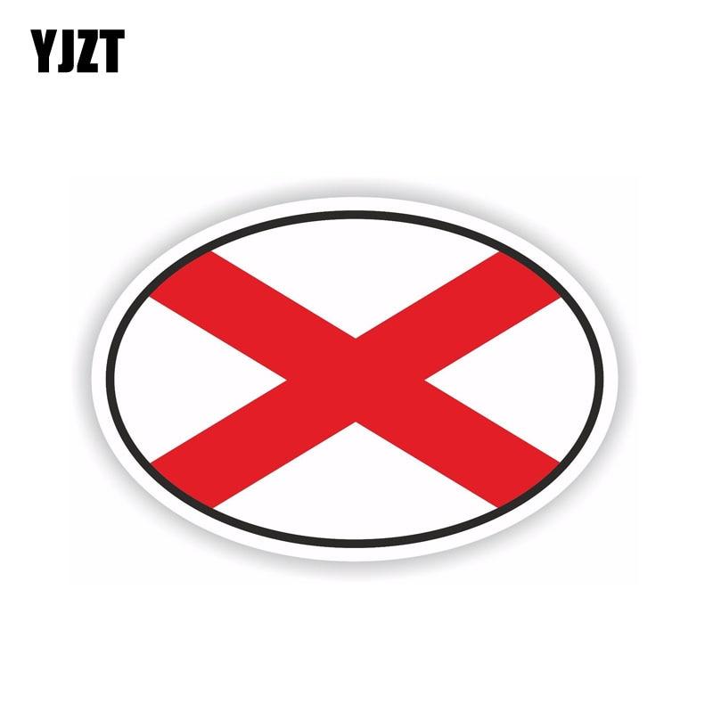 YJZT 12.6CM*8.4CM Car Sticker Alabama Oval Flag Helmet Decal Car Accessories 6-1686