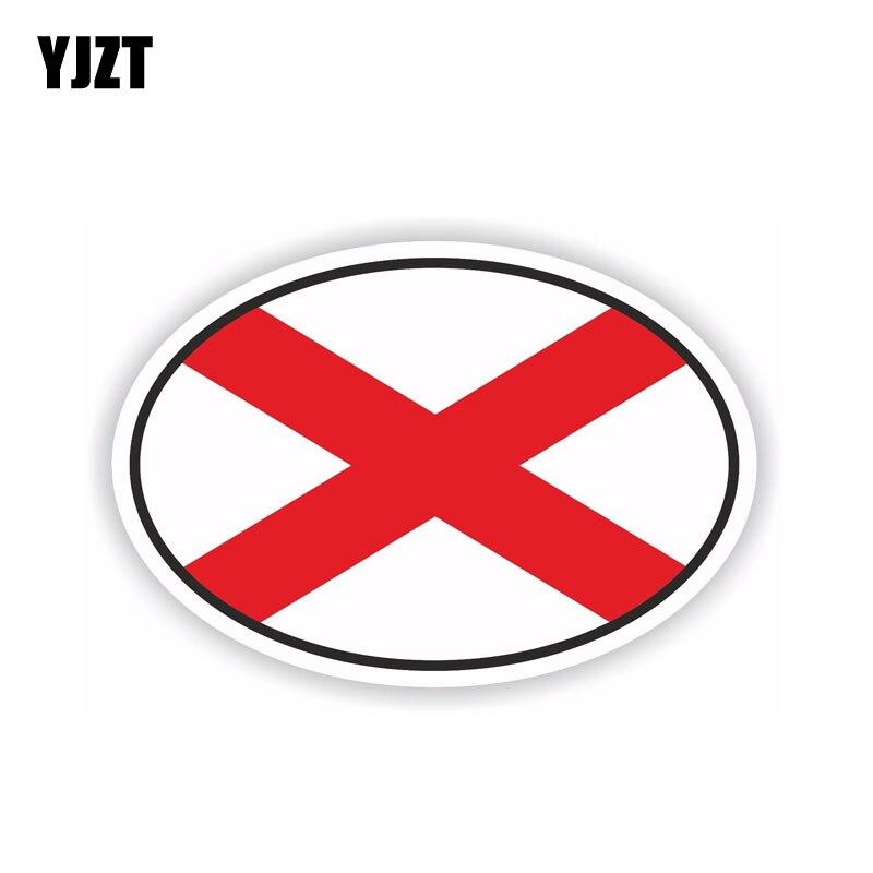 YJZT 12,6 CM * 8,4 CM pegatina de coche Alabama Oval bandera calcomanía del casco accesorios de coche 6-1686