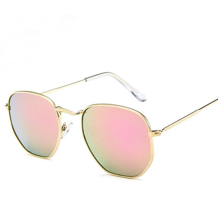 Men Hexagonal Flat Lens Aviation Sunglasses Brand Designer New Vintage Women Pink Mirror Driving Sun