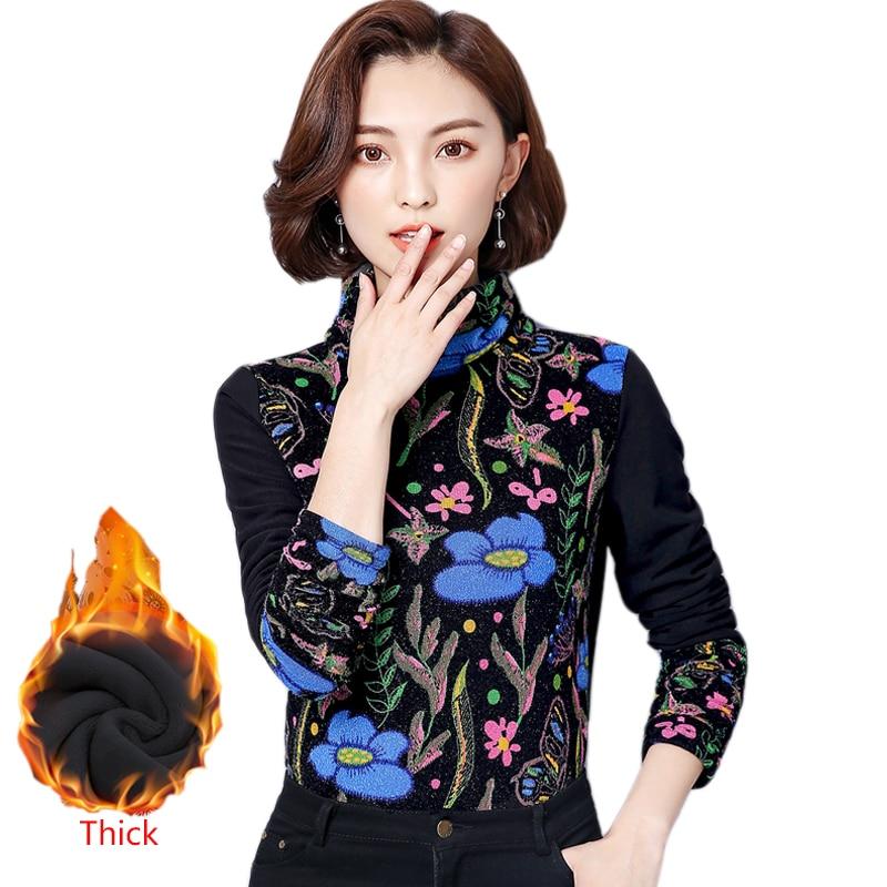 Velvet Thickening Warm Shirt Women's Blouse Long Sleeve 2017 Winter Blouse Korean Printed Blouse Plus Size Elegant Blouses