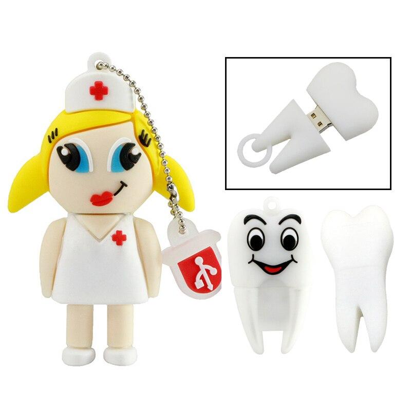 Usb флеш-накопитель Pendrive Dentist Teeth Pendrive 16 ГБ 8 ГБ 4 ГБ мультяшная медсестры Doctor Tooth память Usb 2,0 Флешка подарок