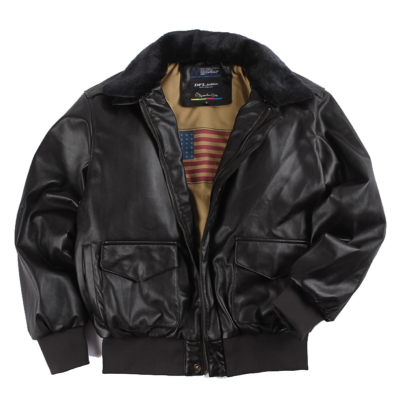 2019 Winter Vintage A2 leather jacket men streetwear Removable fur flight motorcycle bomber padded air force coat