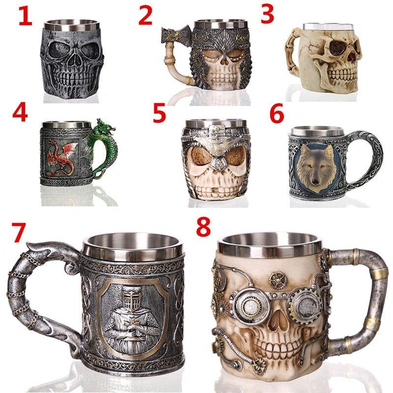 Horror Skull Mug Dragon Mug Goth Retro Style Stainless Steel Resin Material Coffee Tea Beer Drinkware for Home Office Halloween