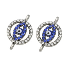 JAKONGO Silver Plated Crystal Evil Eye Charm Connector for Jewelry Making Bracelet Accessories Findi