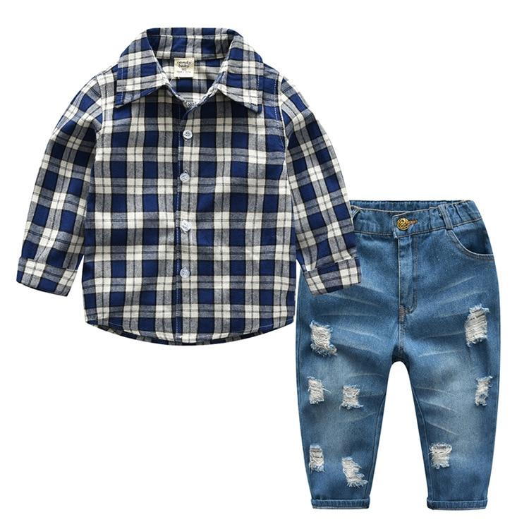 2 piezas niños conjuntos de ropa 2019 primavera Casual Plaid Tops Camisa + Jeans guapo niños ropa trajes