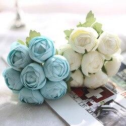 Flor de Lótus Artificial Flor De Seda 7 PCS/Ramo Rosa Azul Rosa Falso Buquê de Flores para a Festa Em Casa Do Casamento Do Jardim Festival Decoração