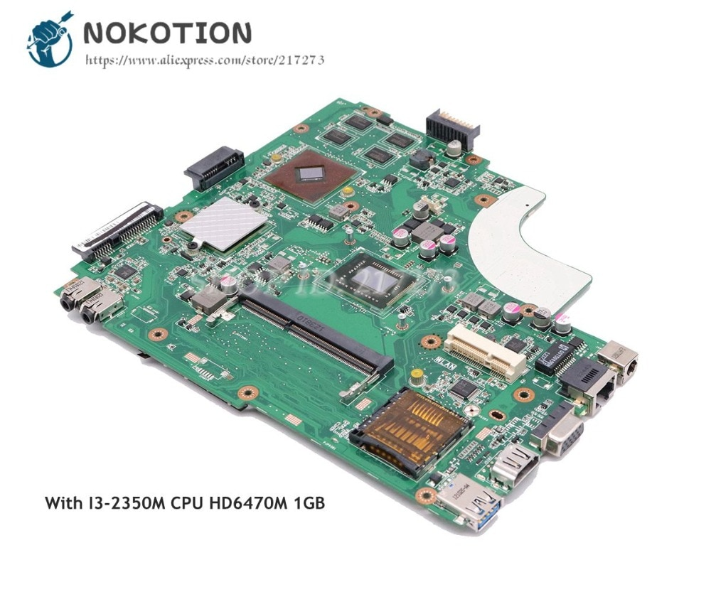 Placa base NOKOTION para ordenador portátil Asus K43LY K84HR Tablero Principal SR0DQ I3-2350M CPU HD 6470M gráficos