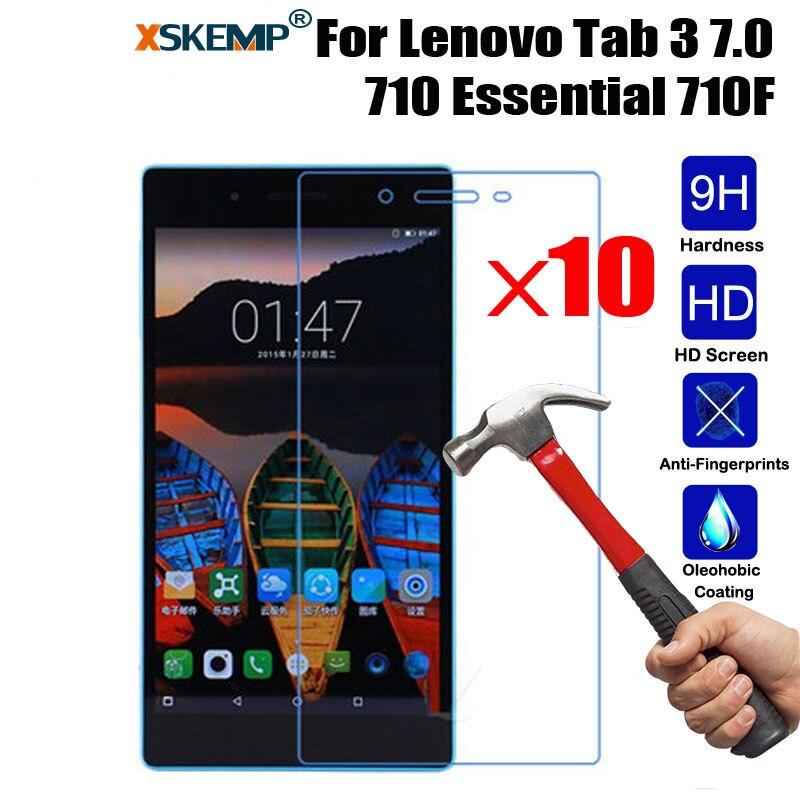XSKEMP 10 unids/lote 9 H Premium Real de templado de vidrio de película para Lenovo Tab 7,0 3 710 esencial 710F pantalla LCD protector de cristal templado