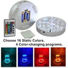 Kitosun 3AA alimenté par batterie 19 LED lumières colorées Base de présentoir en cristal éclairé avec télécommande pour mariage
