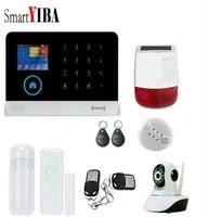 SmartYIBA     kit dalarme de securite domestique intelligente  controle par application sans fil  RFID  GSM  WiFi  GPRS  SMS  DIY  camera de Surveillance  sirene solaire