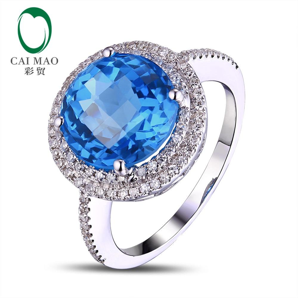 Caimao Solid 14K White Gold 4.8CT Flawless Blue Topaz Gemstone Diamond Ring Free Shipping