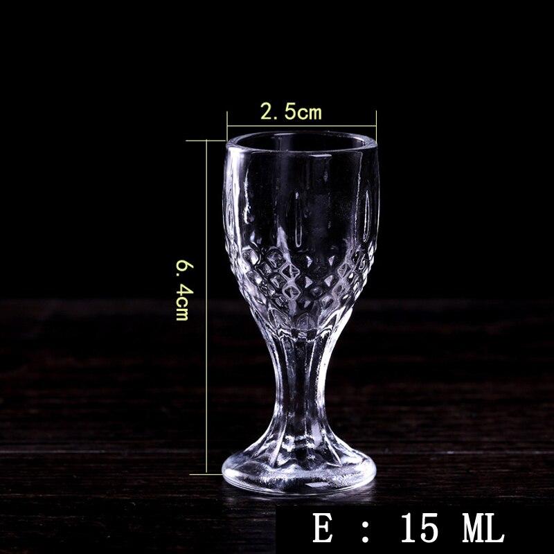 Vasos de cristal sin plomo de 6 uds, vasos de licor para bebidas, vasos de vidrio-20ML de 10ML, pequeños y creativos, de muchos tamaños