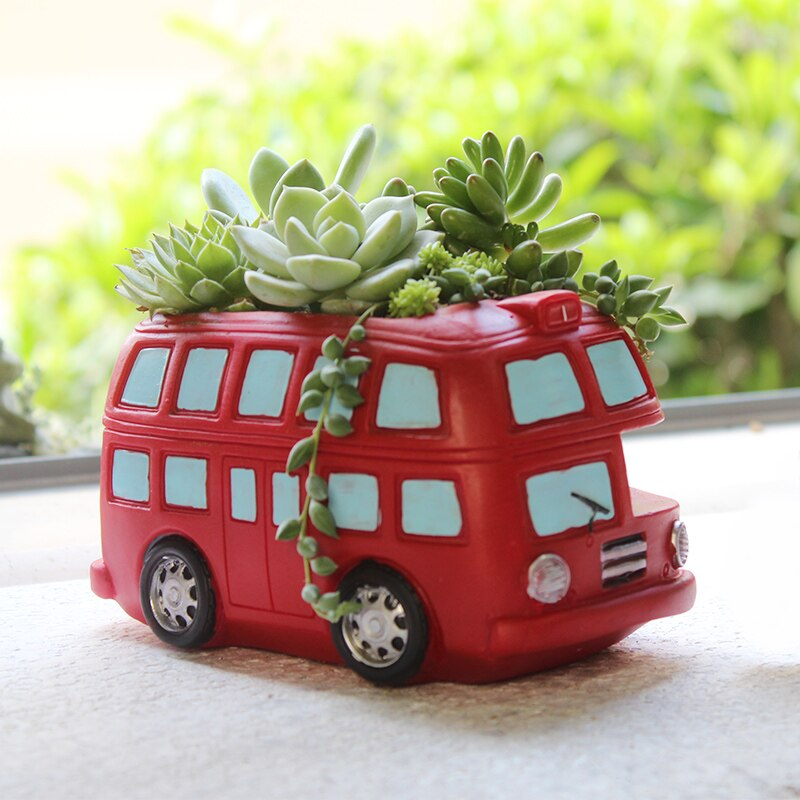 1 piece Creative Flowerpot Retro Cars Planter Resin Garden Succulent Plants Bonsai Flower Pot Decoration indoor macetas