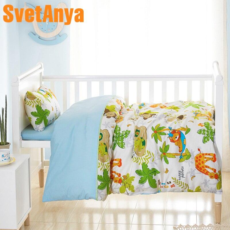 Juego de cama de cuna de algodón con estampado de dibujos animados en forma de zoológico (edredón de 120xx150cm + Sheet60x135cm + funda de almohada de 30x50cm) Juego de ropa de cama de 3 piezas