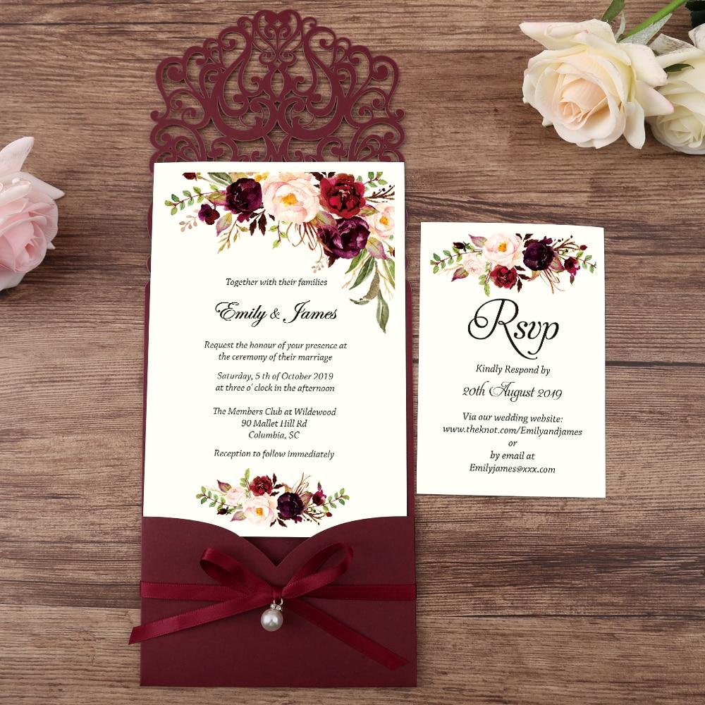 Convites de Casamento com Corte a Laser Chegado com Fita de Pérola Horizontal Borgonha Recém Cartão Rsvp Personalizável 100 Peças