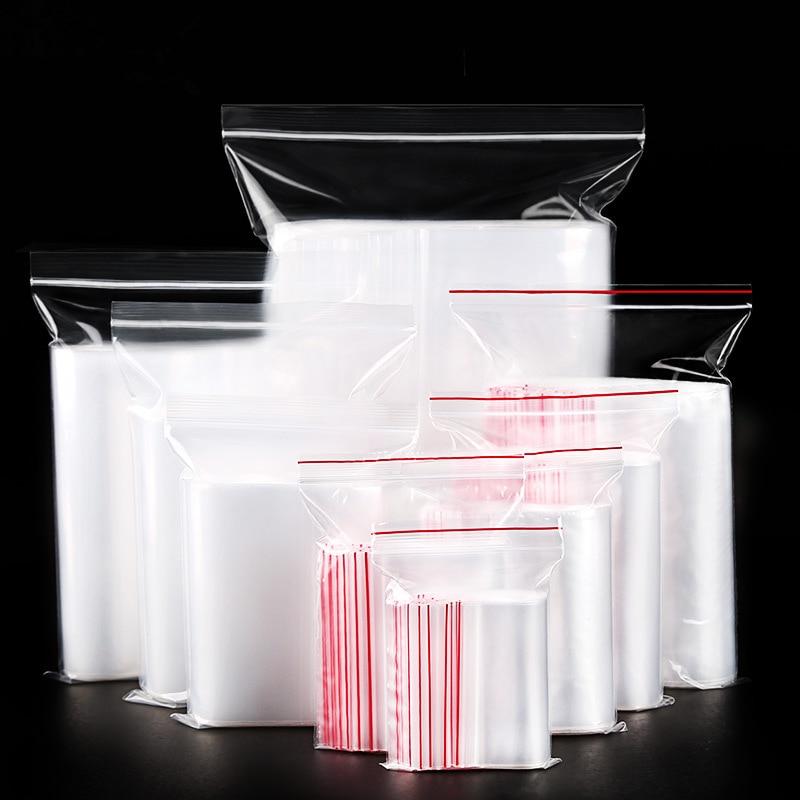 (100 unidades por lote) bolsa de plástico, bolsa sellada para polvo, bolsillo para comida, embalaje de ropa, bolsa con cremallera, bolsa Ziplock transparente gruesa de polietileno