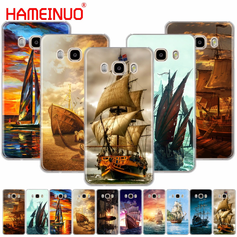 HAMEINUO barco de vela barco de turismo Barco Pirata Hood caso de teléfono para Samsung Galaxy J1 J2 J3 J5 J7 MINI ACE 2016, 2015