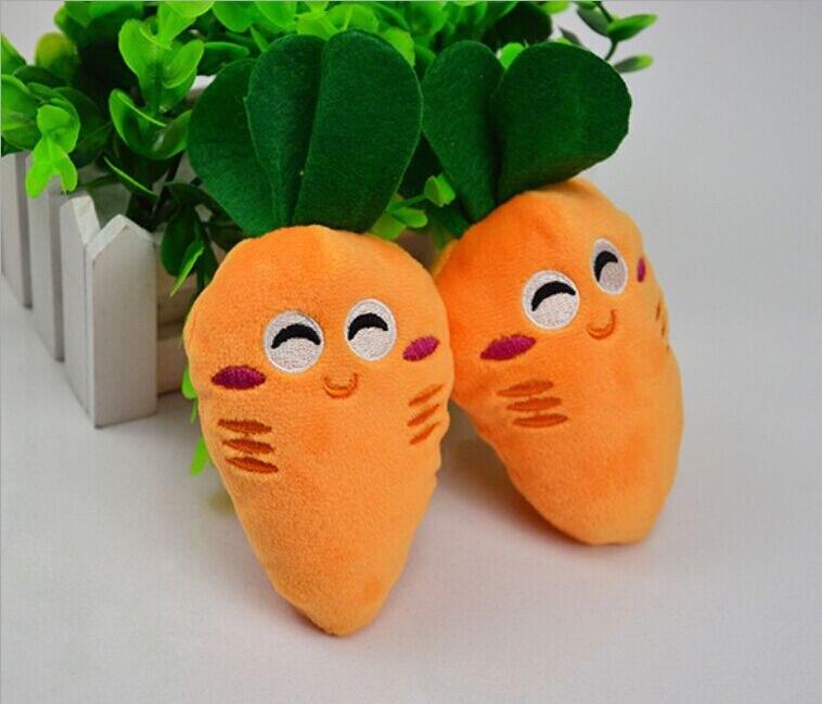 Perro Juguete masticable para cachorros sonido de peluche chillón bonito vegetal zanahoria diseño juguetes Traning diversión jugando Bola de cuerda verde juguete para