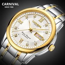 Carnaval suisse affaires top marque de luxe montre hommes saphir entièrement en acier automatique mécanique hommes montres montre étanche