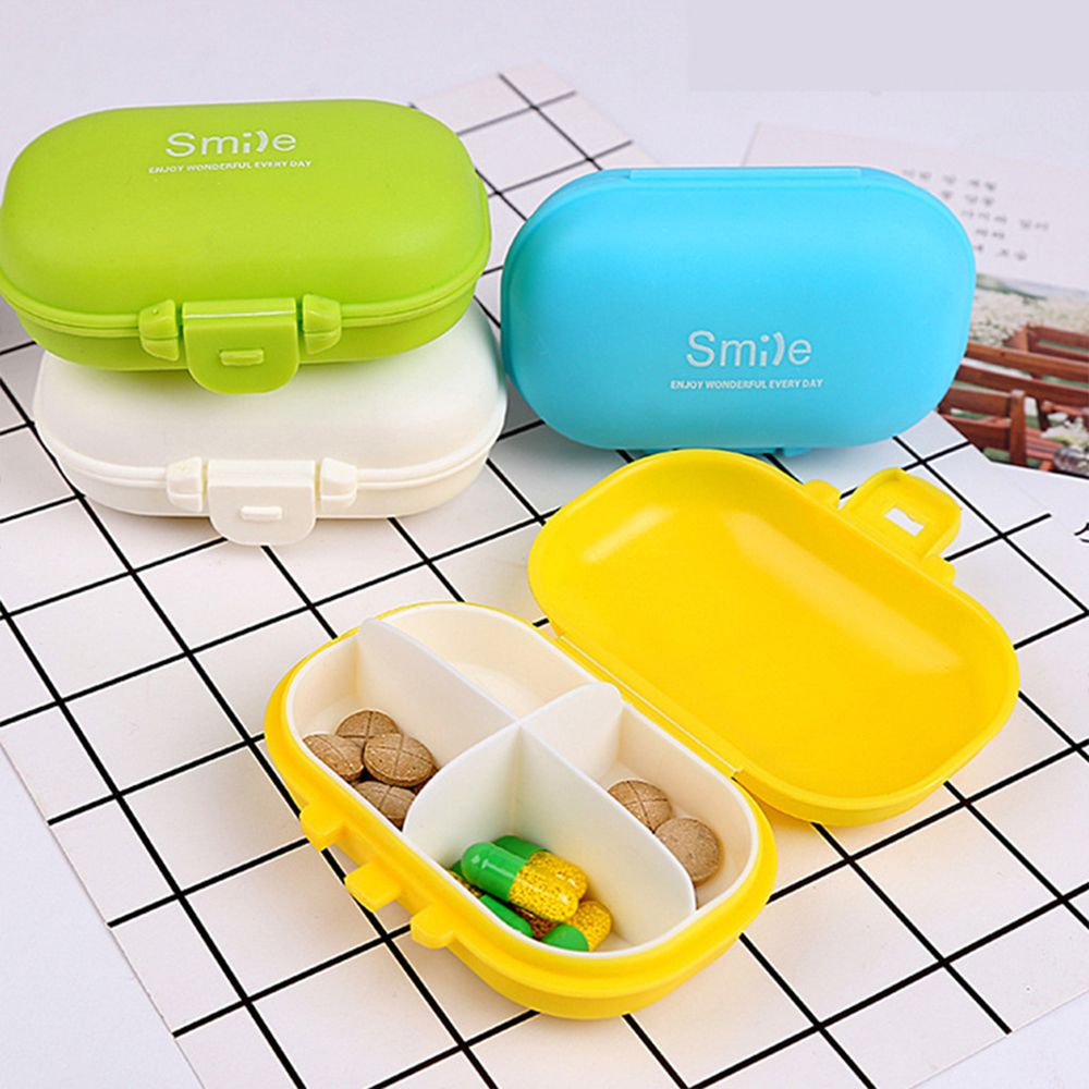 Estuche portable para píldoras, 4 cuartos, cajas médicas, contenedor de joyas, Orginazer, Mini estuche versátil para dulces