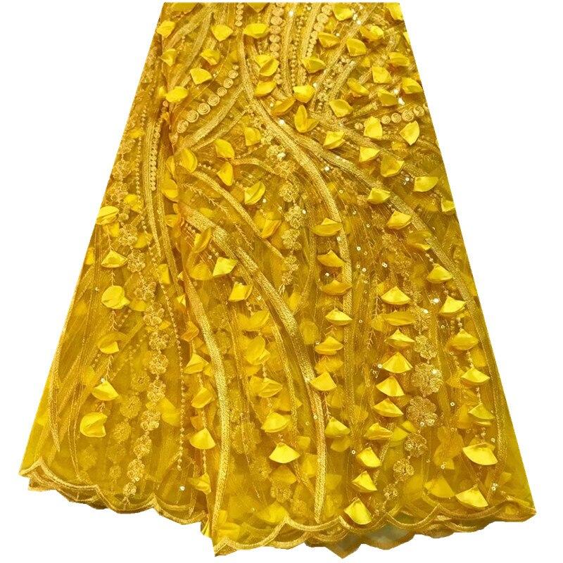قماش زفاف نيجيري ثلاثي الأبعاد ، دانتيل أفريقي ، أصفر ، قماش دانتيل صافي فرنسي مع ترتر للفستان ، 2018 ، جودة عالية ، مجموعة جديدة 925