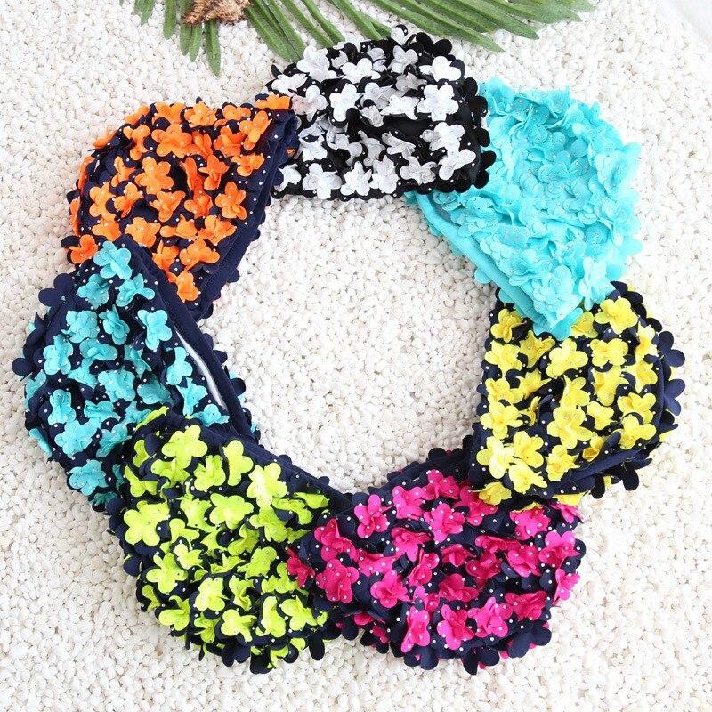 Трехмерная женская летняя кепка с цветами, изящная Персонализированная Кепка для плавания с лепестками