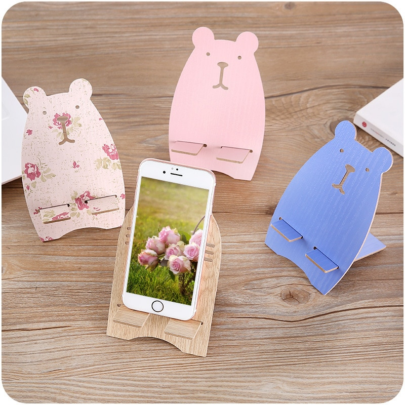 Soporte de teléfono móvil de gato de dibujos animados, artesanía de madera, soporte de madera bonito, figura de teléfono en miniatura, accesorios de decoración para el hogar, regalos de cumpleaños