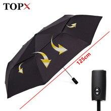 125cm grande automático de calidad de doble capa Paraguas de lluvia de las mujeres 3 veces a prueba de viento Paraguas grande para exterior hombres mujer Paraguas Parasol