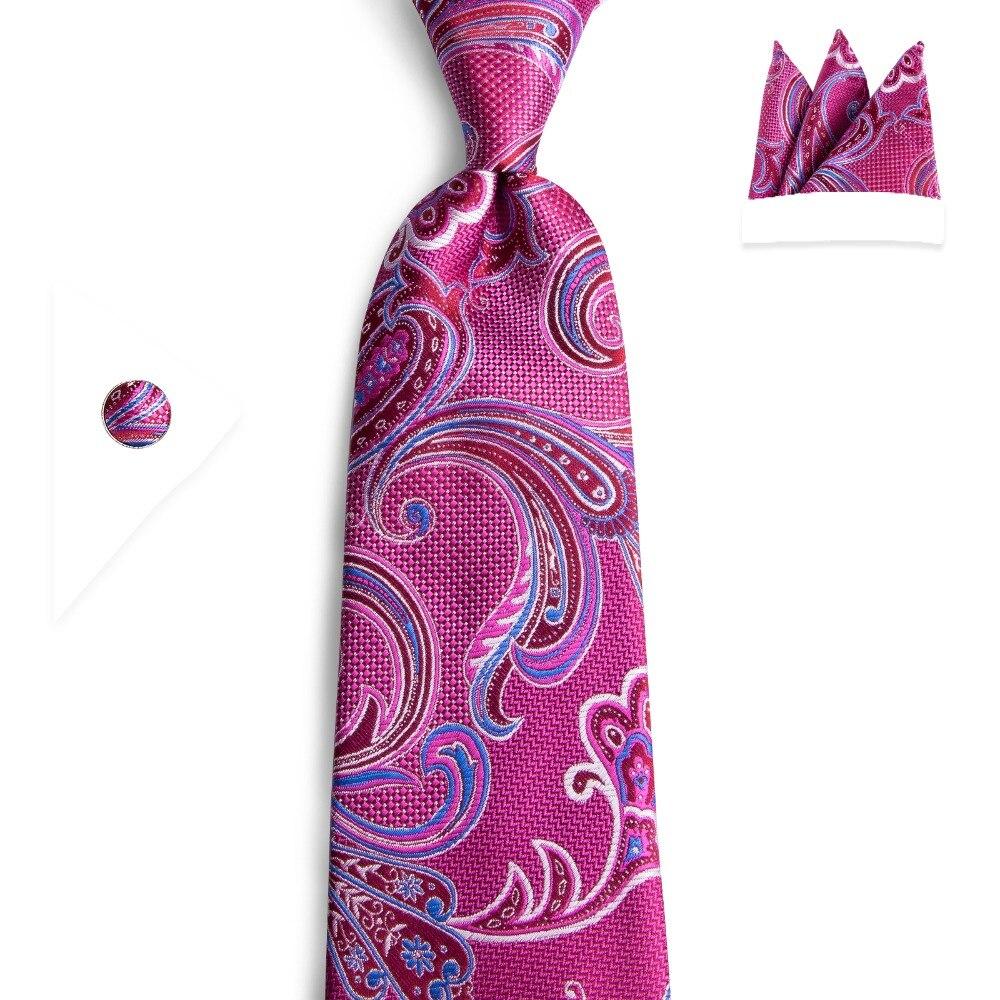 DiBanGu corbata poliéster Magenta corbatas para hombres traje de boda Cachemira clásica Floral cuello corbata Casual puro 8cm rojo Tie N-7122
