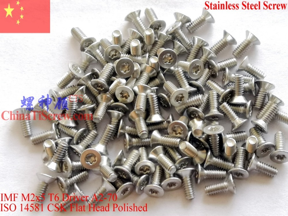 Tornillos de acero inoxidable M2x5 ISO 14581 cabeza plana Torx T6 unidad A2-70 pulido ROHS 100 Uds