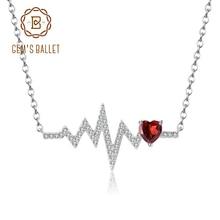 GEMS BALLET 925 Sterling Silver Natural Red Garnet Heartbeat Love Electrocardiogram Pendant Necklace for Women Wedding