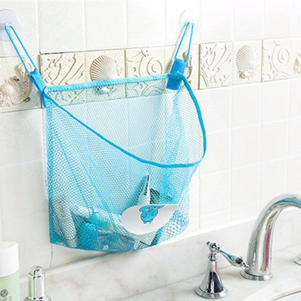 2017 Child Bath Toy Storage Bag Organiser Net Suction Baskets Kids Bathroom Mesh Bag MAR6_30