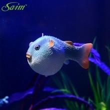 Aquarium poisson Robot en Silicone   Ornements de poissons lapin artificiel rond, poisson flottant, Aquarium sous-marin mignon, décoration de paysage