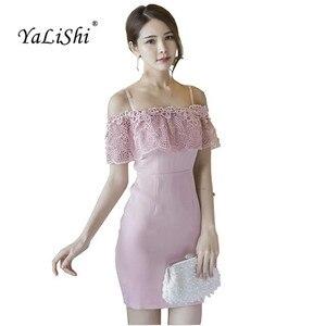 Женское кружевное мини-платье YaLiShi, розовое облегающее платье на бретелях-спагетти с вырезом лодочкой, сексуальное винтажное платье на лето...