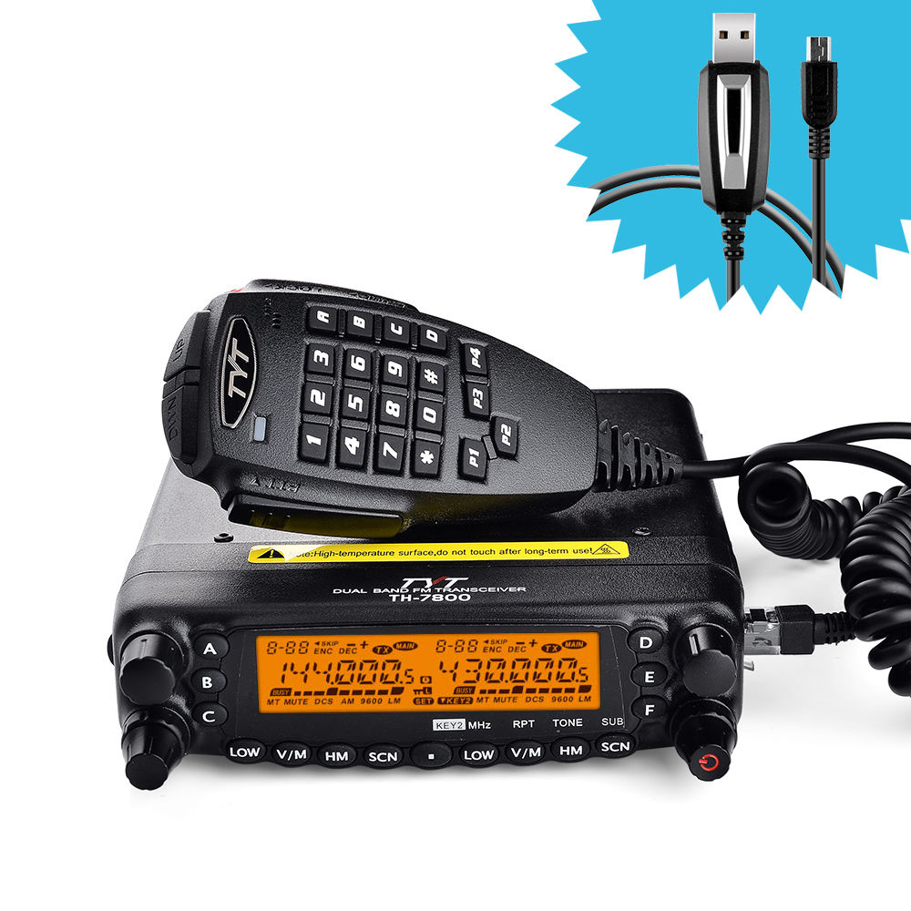 New TYT TH-7800 Car Radio Walkie Talkie Dual Band 136-174/400-480MHz 50W VHF/40W UHF Mobile Transceiver Two Way Radio with Cable
