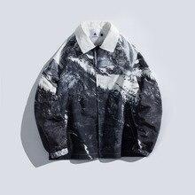 2019 Été Nouvelle Coréenne Rétro Dorigine Neige Montagne Japonais Coton Poche Graffiti Impression homme décontracté Veste M-XL
