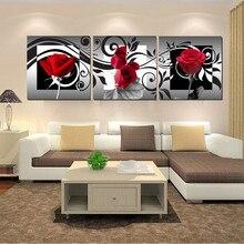 Ensembles de résine point de croix 3D et carré   3 pièces de diamant complet, fleur de broderie en diamant décorative en Rose rouge