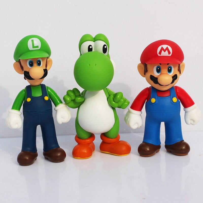 13 см 3 шт./лот Super Mario Bros Luigi Mario Yoshi ПВХ Фигурки игрушки